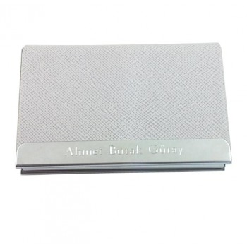 Kişiye Özel Beyaz Renk Lüx Deri Kartvizitlik *12