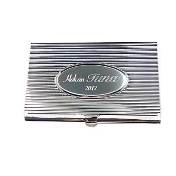 Kişiye Özel Gümüş Kaplama Kartvizitlik Oval | isim yazılı