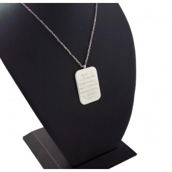 925 Gümüş Arapça Ayetel Kürsi Yazılı Plaka Kolye