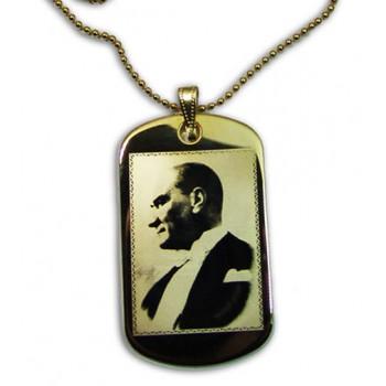 Altın Kaplama Asker Künye Modeli Üzerine Atatürk Resmi