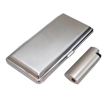 İsim Yazılı Metal Uzun Sigara Tabakası ve Clipper Çakmak