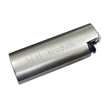 İsme Özel Metal Sigara Tabakası Metal Clipper Çakmak Kutulu
