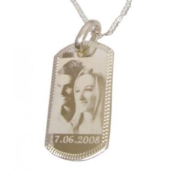 Fotoğraf Baskılı 925 Ayar Gümüş  Künye Kolye