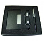 İsme Özel Deri Kartvizitlik Kalem ve 4GB USB Bellek Seti