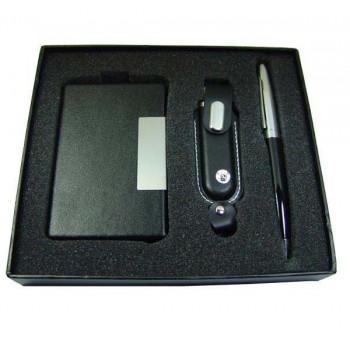 İsme Özel Deri Kartvizitlik Kalem ve 16GB USB Bellek Seti